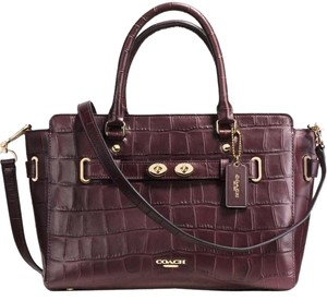 Coach Blake Exotic Croc Embossed Leather Tote in OX BLOOD