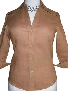 Tracy M Studded Linen Western Button Down Shirt Brown