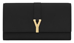 Saint Laurent Ysl Wallet Calfskin Leather Black Clutch