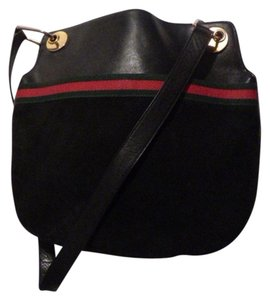 Gucci Style Satchel in black leather & suede with red and green striped accents