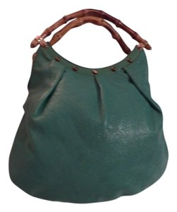 Gucci Satchel/Tote Style Dressy Or Casual Mint Vintage High-end Bohemian Petite But Roomy Tote in teal green leather with bamboo handles