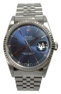 Rolex Rolex 36MM Datejust Stainless Steel Blue Index Dial 18K White Gold Fluted Bezel Jubilee Bracelet Vintage