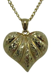 Other 14K Solid Yellow Gold Diamond Cut Puffy Heart Pendant