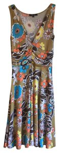Other short dress Tan Floral Sleeveless Blue Yellow on Tradesy