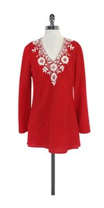 Lafayette 148 New York Red Linen Beaded Embroidered Tunic