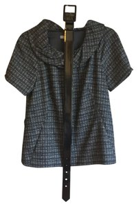 Classiques Entier Cowl Neck Checkered Plaid Black Wool Sweater