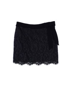 Diane von Furstenberg Grey Lace Ribbon Skirt