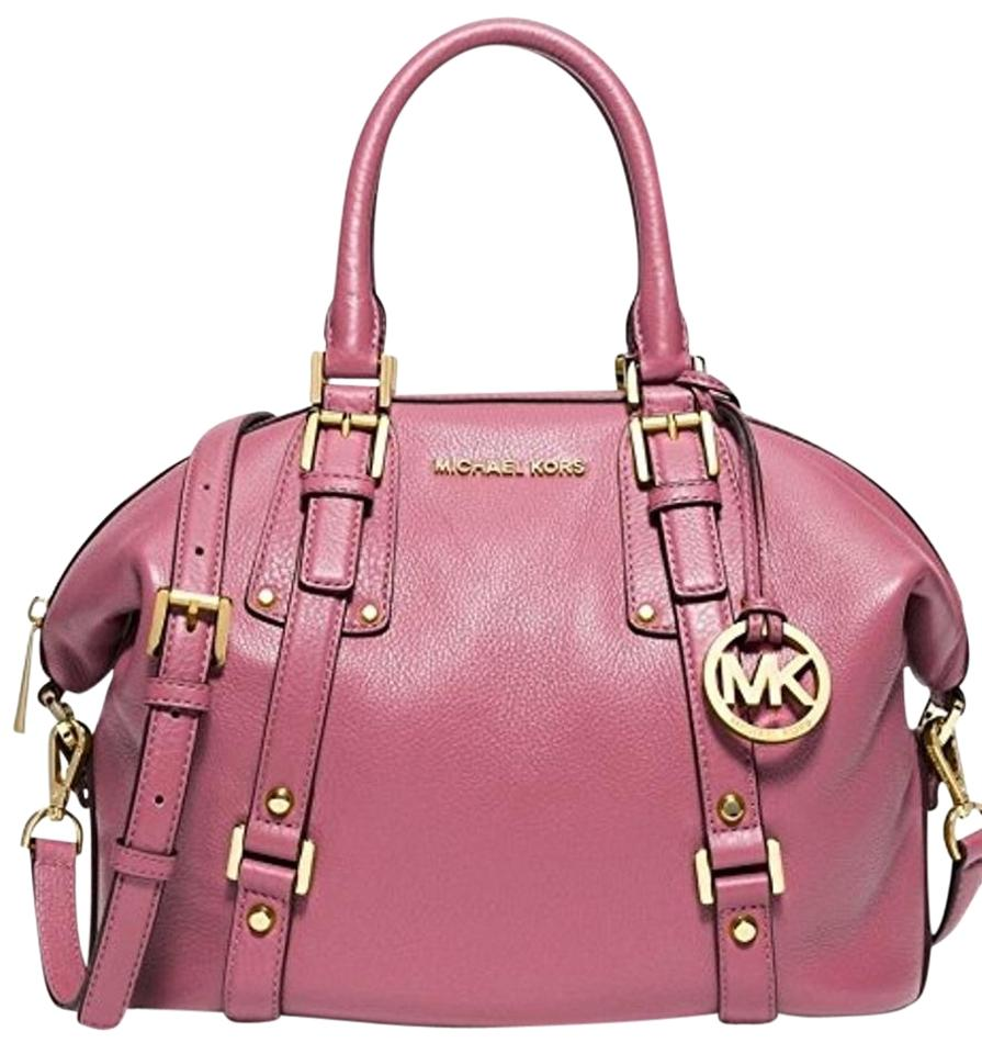 Michael Kors Bedford Belted Pebbled Leather Satchel In Tulip Gold