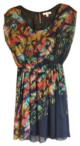Lush short dress Black Floral Chiffon Kimono Red Blouson on Tradesy