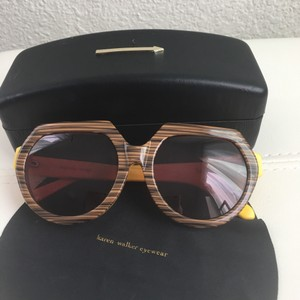 Karen Walker Karen Walker Fight On Sunglasses Wood Print Yellow Round CASE!