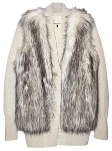 Rebecca Taylor Faux Fur Wool Cardigan Sweater