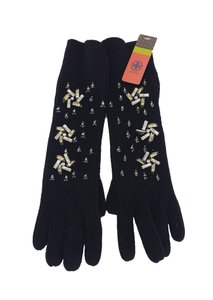 Tory Burch Black Wool Embellished Gloves