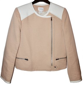 Club Monaco Leather Wool Quilted Asymmetric Collarless Peach Jacket