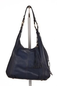 B. Makowsky Leather Hobo With Tassel Shoulder Bag