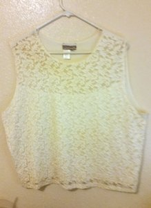 Coldwater Creek Lace Front Lined Lace Top Off White