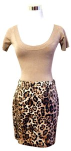 Michael Kors Leopard Animal Print Sateen Mini Skirt Brown