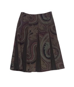Etro Brown Paisley Print Wool Skirt