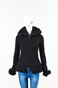 Alexander McQueen Chunky Ribbed Knit Zip Up Jacket Sweater