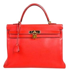 Hermès Geranium Epsom Leather Ghw Kelly Cm Satchel in Red