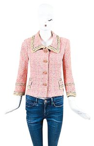 St. John Couture Tweed Jacket Pink, Metallic Gold, Tan Blazer