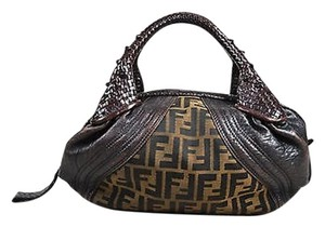Fendi Zucca Print Canvas Leather Trim Baby Spy Satchel in Brown