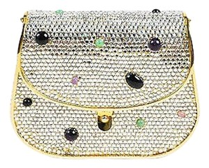 Judith Leiber Ghw Multicolor Stone Crystal Embellished Flap Gold-Tone, Multicolor Clutch