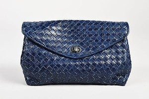 Bottega Veneta Navy Genuine Lizard Intrecciato Woven Flap Blue Clutch
