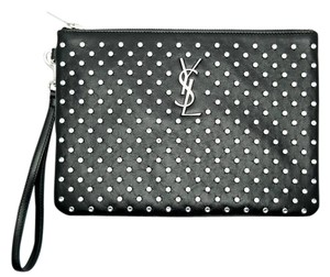 Saint Laurent Leather Ysl Monogram Studded Black Clutch