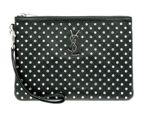 Saint Laurent Leather Ysl Monogram Black Clutch
