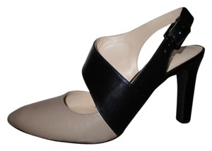 Franco Sarto Leather Two Tone taupe & black Pumps