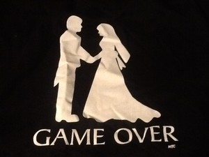 New York & Company Black and White Game Over T Shirt Groomsman Gift