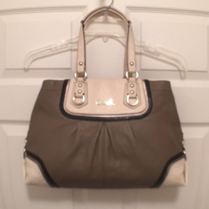 Coach Leather Satchel in Gray, Ivory, Black, Silver