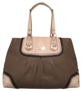 Coach Leather Color-blocking Pleated Handbag Satchel in Gray, Ivory, Black, Silver