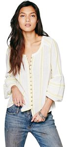 Free People Button Down Shirt Yellow/White