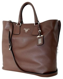 Prada Shoulder Leather Tote in Bruciato