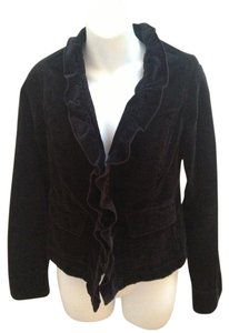 Free People Velvet Ruffled Hook & Eye Black Blazer