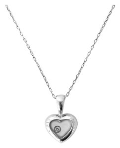 Other White Gold Heart Locket w/ Diamond
