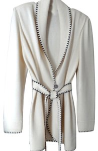 St. John Santana Knit light beige and chocolate brown Jacket