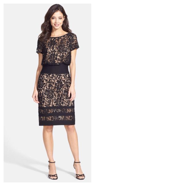 Preload https://item1.tradesy.com/images/tadashi-shoji-black-embroidered-lace-and-pintuck-blouson-above-knee-cocktail-dress-size-4-s-19988005-0-0.jpg?width=400&height=650