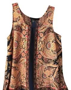 Fun 2 Fun Top Paisley blue, burnt orange and yellow