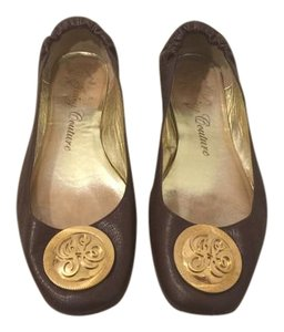 Juicy Couture Leather Gold Heel Brown Flats