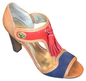 Coach Turnlock Legacy Tassels Color-blocking Red, Blue, Camel Pumps