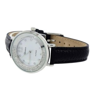 Geneva Womens Watch Black Leather Strap Floating Stones Dial Ladies