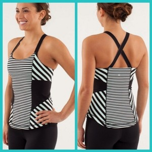 Lululemon Mint/Black Work It Out Back Tank Tank Top