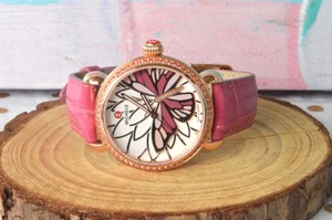 Michele Michele Garden Party Collection Pink Butterfly Watch