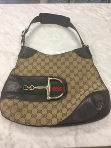 Gucci Horsebit Gold Monogram Leather Shoulder Bag
