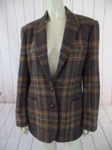 Ralph Lauren Wool Plaid Button Lined Patch Tan, Gray, Cranberry Blazer