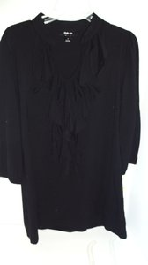 Charter Club Rayon Ruffled Front Top black