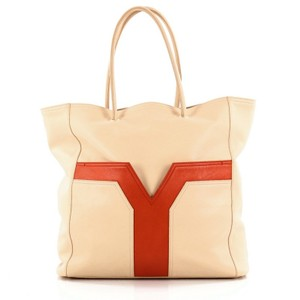 Saint Laurent Leather Tote in Beige
