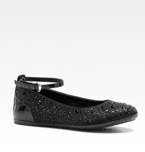 87ae8431dc8 Gucci Black Kids Satin Ballet Flat W Strass G 26  Us 10 271303 Shoes